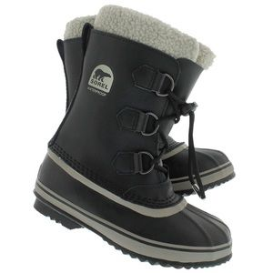 Sorel Yoot Pac black leather boots boys junior 5